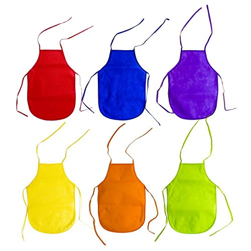 Handy Basics Children's Artists Fabric Aprons Non-Mess – Kitchen Classroom Community Event Crafts & Art Painting Activity Safe Clean 12 Pack Assorted Colors