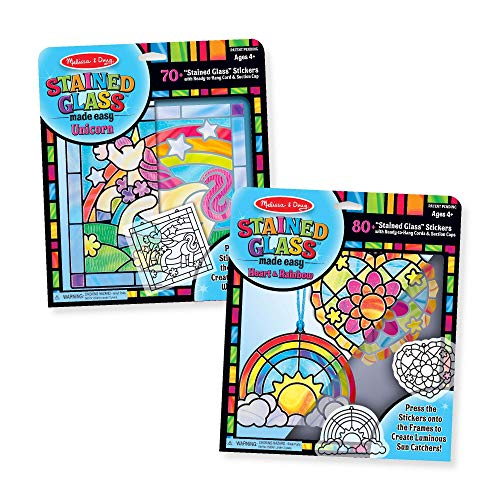 Melissa & Doug Stained Glass Made Easy Peel Press Craft Kit for Kids 2 Pack – Rainbow Heart Ornaments 2 Unicorn Multicolor