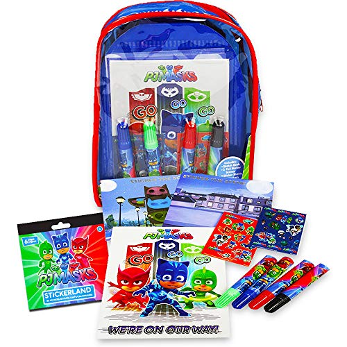 PJ Masks 12-Piece Coloring and Activity Backpack Bundle — Childrens Drawing Pads Books with Stickers Markers Bonus PJ Party Supplies
