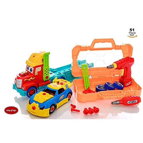 King Of Toys Take Apart 51 Piece Toy Set Truck Carrier Tool Box with Racing Car Power Drill And Realistic Lights Sounds Hours Fun for Boys & Girls Age 3 4 5 +Year Old