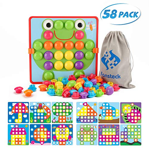 Fansteck Button Art Toy for Toddlers Color Matching Early Learning Educational Mosaic Pegboard Safe Nontoxic ABS Plastic Premium Material 12 Pictures and 46 Buttons with a Bag Easy to Storag