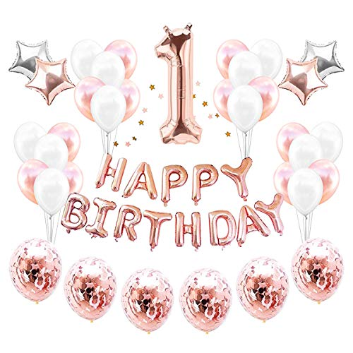 Cieovo 1st Birthday Decoration Set Great for Party Supplies and Rose Gold Decorations Includes Confetti Balloons Banner Star Garland