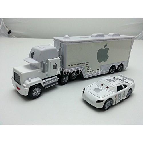 Pixar Cars Toys Diecast White Apple Mack Racer's Truck & Apple Icar Metal 1:55