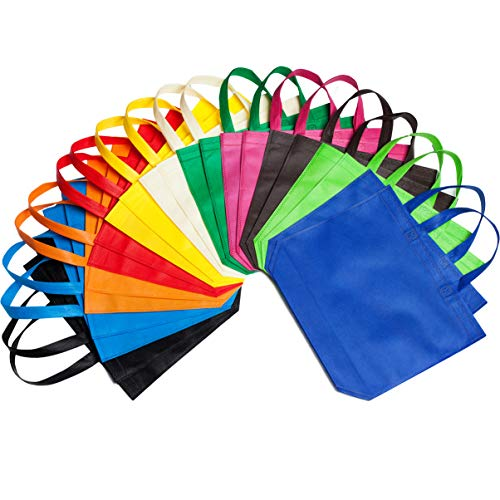 LOUHUA 22 Pcs 15 Inch 126 Large Party Gift Tote Bags with Handles 11 Colors for Birthday Favors Snacks Delivery Bag Rainbow