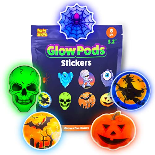 PartySticks Glow Pods Halloween Stickers – in The Dark Puffy w 8 Monster and Adhesive Pads