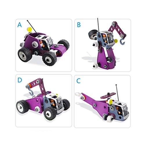 D DOLITY 4 in 1 Assemble Engineering Vehicle Set Kids Plastic Building Blocks Toy Gift 82pcs Set