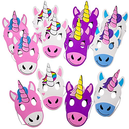 Kicko Foam Unicorn Mask – a Dozen of 9 Inch Multicolored Masks Assorted Face with Elastic Strap Costumes and Accessories Toys Games Party Favor for Kids
