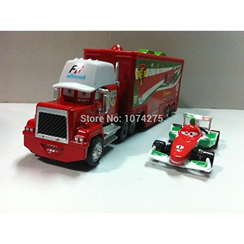 Pixar Cars Toys Diecast Racer's Truck & Francesco Bernoulli Metal 1:55 Scale