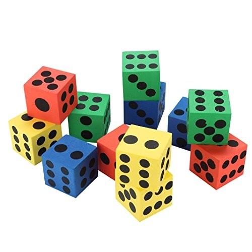 Gbell Specialty Large Eva Foam DiceSix Sided Spot Dice- Kids Game Soft Learn Math Play BlocksDevelopmental Education Toy63CM 37CMRandom Color 12PC Random 37CM