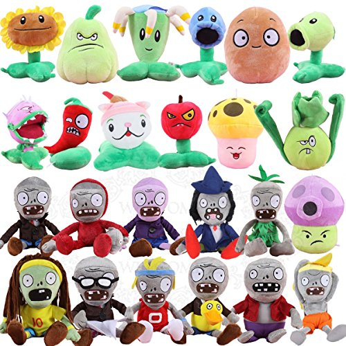TavasHome 24 Pieces Plants VS Zombies 2 PVZ Figures Plush Toys SetLovely Stuffed Soft Game Doll Funny Gift