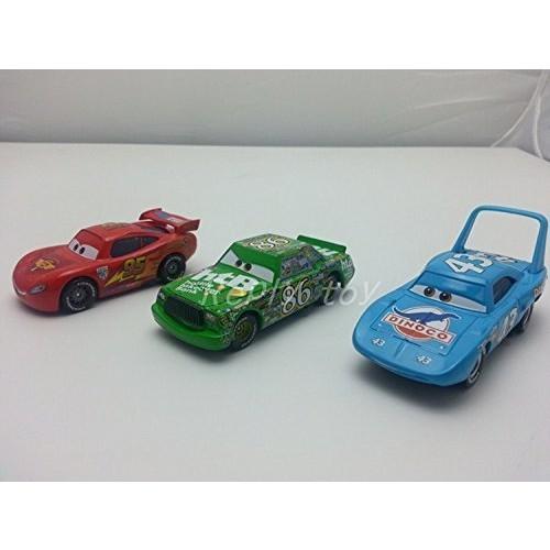 Pixar Cars Toys Diecast No95 McQueen & No86 Chick Hicks & No43 King Metal
