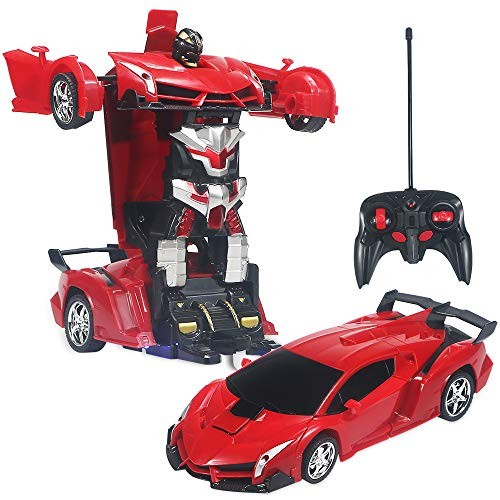 Sikaye Transforming Car Robot Toy for Kids Remote Control with One Button Transformation Best Gift Childrens Red
