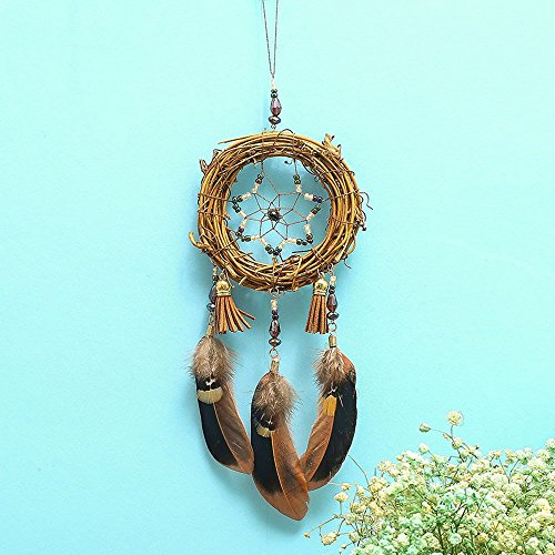 Feather Tree Vine Dream Catcher Cute Handmade Design Wall Hanging Decoration Ornament Gift For House Dorm Or Car To Decorate Avoid Evil Multicolor