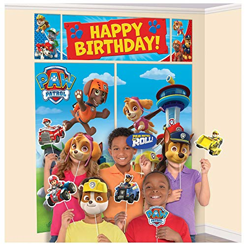 amscan Happy Birthday Paw Patrol Banner Scene Setter Wall Decorations with 12 Photo PropsMulticolor15 Pieces