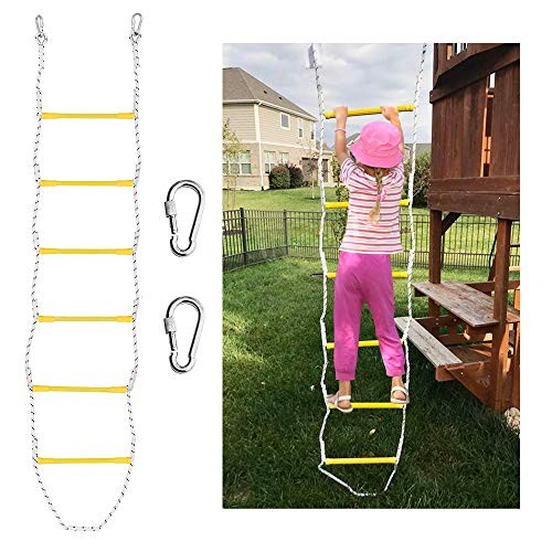Xben 75' Rope Ladder with 2 Hooks for Kids & Adults Climbing Game for