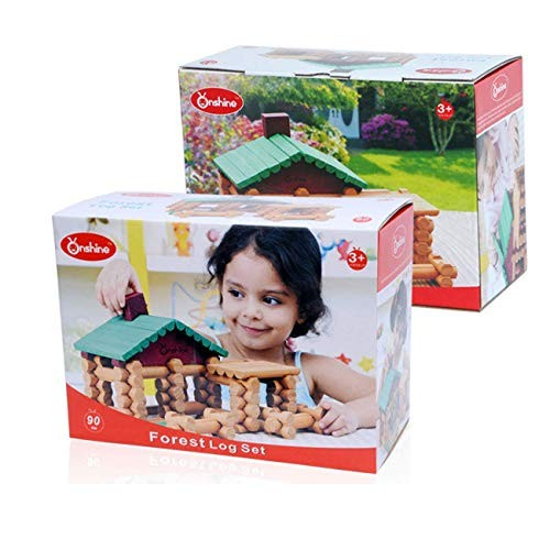 TOPJIN Forest Log Suite Wooden Lincoln Room Creative Puzzle Building Blocks Spell Toys