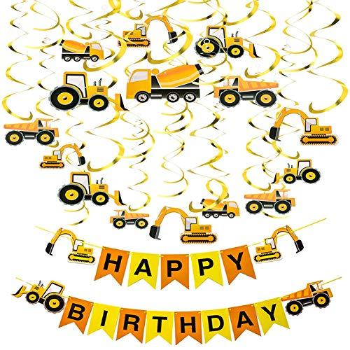 Construction Zone Birthday Party Boys Theme Tractor Banner Excavators Bulldozers Dump Trucks Cement Decorations