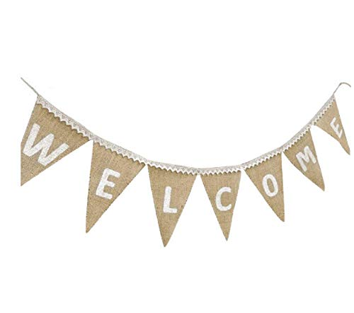 WELCOME Banner with Lace Hanging Pennant Party Bunting Back to School Decorations Supplies – Home Yard Classroom Decor