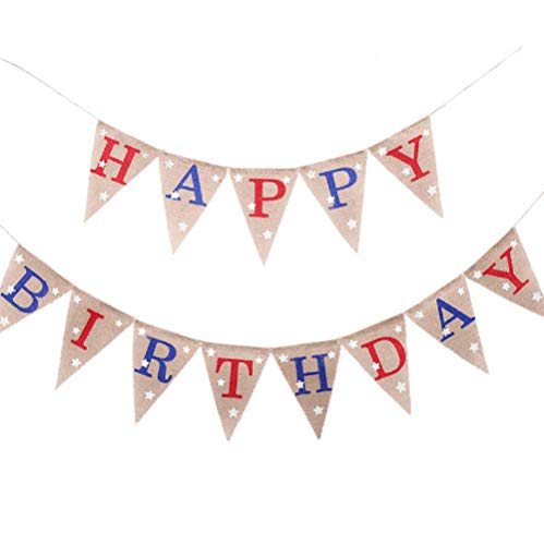 EBTOYS HAPPY BIRTHDAY Banner 4th of July America Independence Day Garland Bunting Memorial Veterans Photo Prop Sign