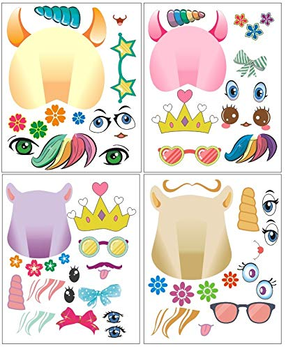 24Pk Make A Unicorn Stickers – Party Favors Fun Craft Project Supplies Let Your Kids Get Creative & Design Their Favorite