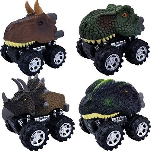 Tonmp Pull Back Dinosaur Car Toys4 Pack Big Tire Wheel Vehicles Playset Dinosaur Toys
