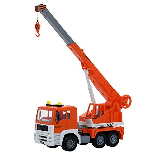 Construction Crane Truck Toy – Friction Powered Vehicle With Lights And Sounds – 4