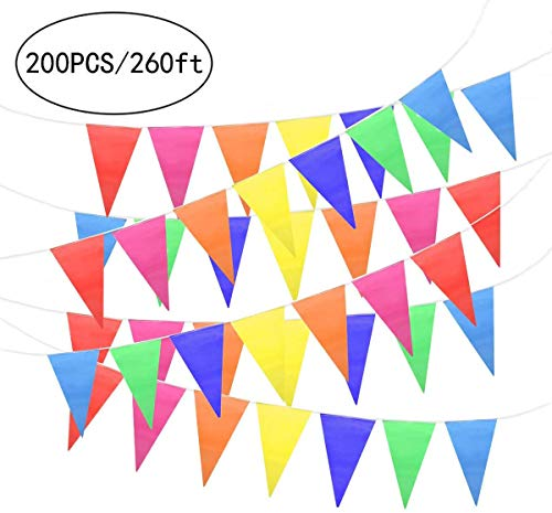 Unomor 260Feet Multicolor Pennant Banner Bunting Flags for Party Decorations Birthday Festivals