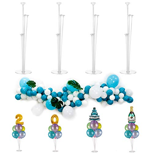 4 Pack Balloon Stands Kit Centerpieces with Garland Chain and Tie Set for Table Birthday Baby Shower Wedding Decoration by Party Zealot