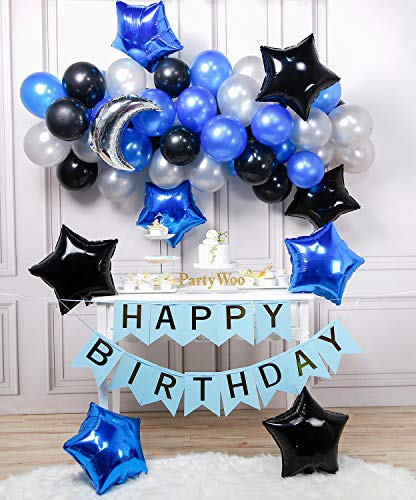 PartyWoo Blue Black Silver Balloons 55 pcs Moon Balloon Mylar Star Happy Birthday Royal and for