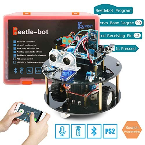 Keywish Robot for Arduino UNO Project Smart Car Kit with TutorialUNO R3 Board Line Tracking Module Ultrasonic SensorBluetooth ModuleGreat Educational Stem ToysSupport Scratch Library
