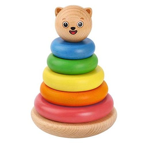 Bimi Boo Wooden Stacking Toy – Classic Baby Tower Stacker with Rings for Toddlers Ages 2 to 5 Developmental Toys Kindergarten Kids 7 Natural Solid Wood Pieces