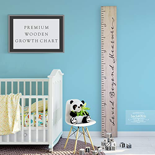Back40Life Wooden Kids Growth Chart Ruler for Boys and Girls Loved Beyond Measure Weathered Natural
