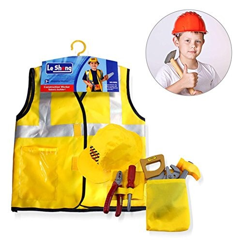 Construction Worker Costume SetEngineering Dress up Cosplay Children Role Play Toy Kit with Tools Halloween Christmas Gift for Kids Toddlers Boys Ages 3-7