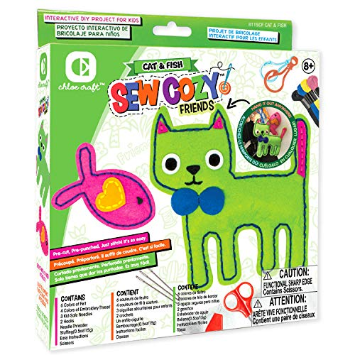 Chloe Craft Sew Cozy Animals – Educational Sewing Kit with Everything Included Pre-Cut Pre-Punched Just Stitch Cat & Fish