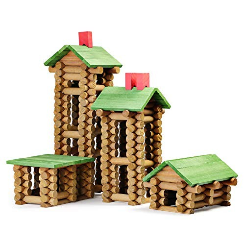 SainSmart Jr 450 PCS Wooden Log Cabin Set Building House Toy for Toddlers Classic STEM Construction Kit with Colorful Wood Logs Blocks 3+ Years Old
