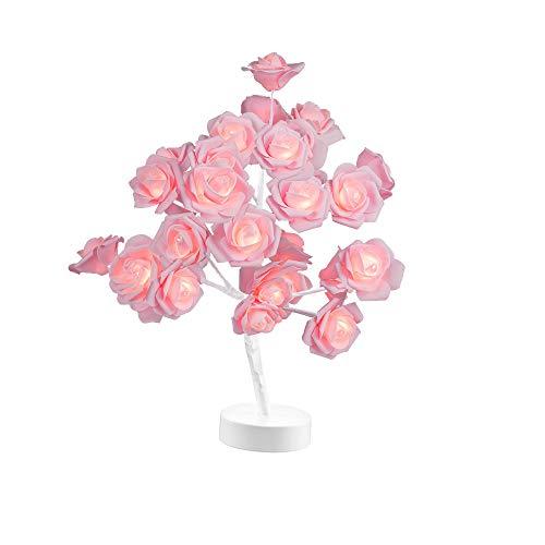 Table Lamp Rose Flower Desk Tree Gift for Girls Women Teens Home Dcor Wedding Christmas Living Room Bedroom Party with 24 Warm White LED Lights Two Modes USB Battery Powered White