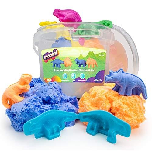 USA Toyz Moosh Fluffy Modeling Clay – Soft Foam Non Drying w 4 Dinosaur Molds Blue Orange