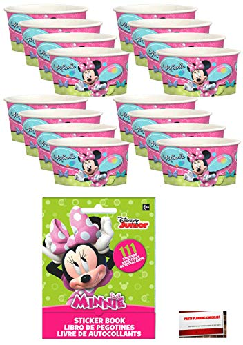 Minnie Mouse Party Decorate Your Own Favor Cups 16 Pack Includes 111 Pc Sticker Book Plus Planning Checklist by Mikes Super Store