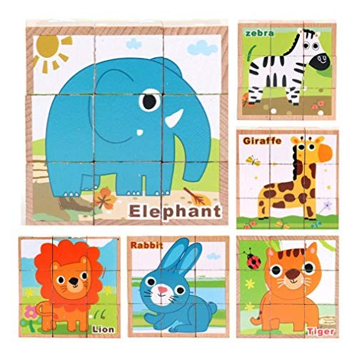 Gbell Six Sides Animal Building Blocks Wooden Puzzle 9Pcs Set for Toddlers135x135x5CM Jigsaw Board Educational Toy Gift 1-5 Year Old Baby Girl Boy Kids E
