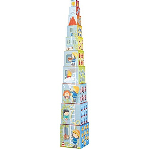 HABA Fire Brigade Sturdy Cardboard Nesting & Stacking Cubes – Reinforcing Numbers 1 10 with Rescue Themes on Each Side