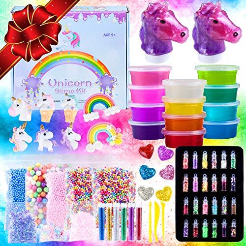 Unicorn Slime Kit for 60 PCS Set with charms rainbows hearts glitter foam beads confetti Ultimate Making Kits