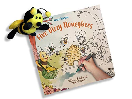 Five Bizzy Honey Bees Children's Activity and Coloring Book with Matching 5 Plush Bee