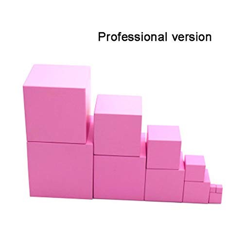 Studyset Kids Montessori Wooden Pink Blocks Tower Building Toy Smart Puzzle Shape Stacking Math Early Educational Professional Edition