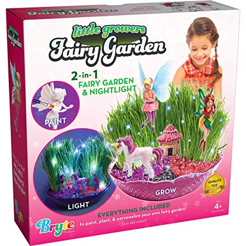 Little Growers Fairy Garden Craft Kit with Enchanted Unicorn and Light-Up Lights – Paint Plant Grow Your Very Own Arts Crafts For Kids all Ages Both Girls Boys