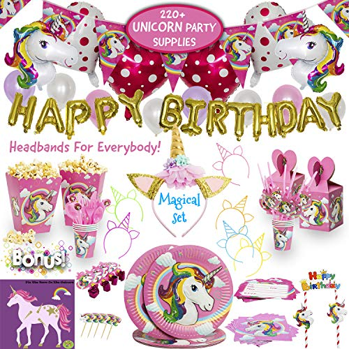 Imagines Complete Unicorn Party Supplies 220+ Piece Rainbow Girls Birthday Pack with Balloons Headbands Favors for Kids MORE Magical Sleepover Set 15