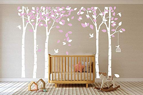 MAFENT Giant Family Tree Wall Decals Forest Birch Stickers Birds Art for Kids Room Nursery Bedroom Living Decoration WhitePink