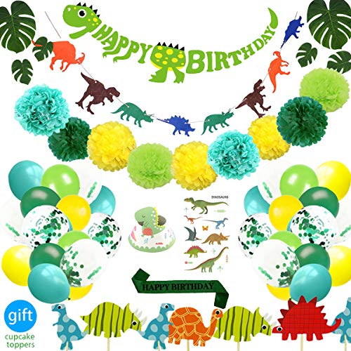 69 Pack Dinosaur Party Supplies Little Dino Decorations Set for Kids Birthday Baby Shower Bridal By REZIPO