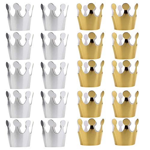 PRALB 20PCS Birthday Crown Paper Hat Princess Party Favors for Kids Gold 10PCS Silver 10PCS