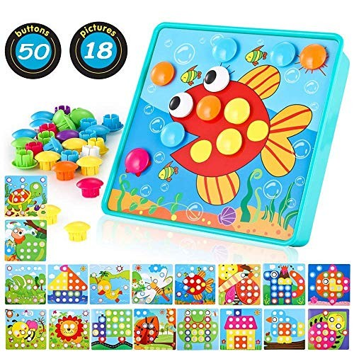 TINOTEEN Button Art Toy for ToddlersToddler Activities Crafts Color Matching Early Learning Educational Mosaic Pegboard 50 Buttons and 18 Pictures