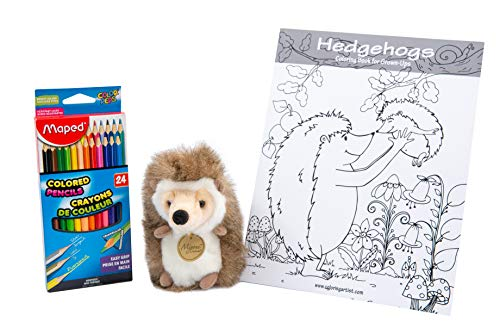 Always Moore Perfect Cute Pet Hedgehog Stuffed Animal Gifts Set – Includes Plush Toy Adult Coloring Book and Triangular Colored Pencils